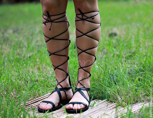 Обувь ручной работы. Ярмарка Мастеров - ручная работа. Купить NEW! Римские Сандалии Гладиаторы из кожи Открытые с Молнией Черные. Handmade.