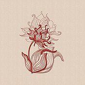"""Материалы для творчества handmade. Livemaster - original item Machine embroidery design """"Contour flower"""" bt012. Handmade."""