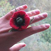 Украшения ручной работы. Ярмарка Мастеров - ручная работа Мак войлочное кольцо. Handmade.