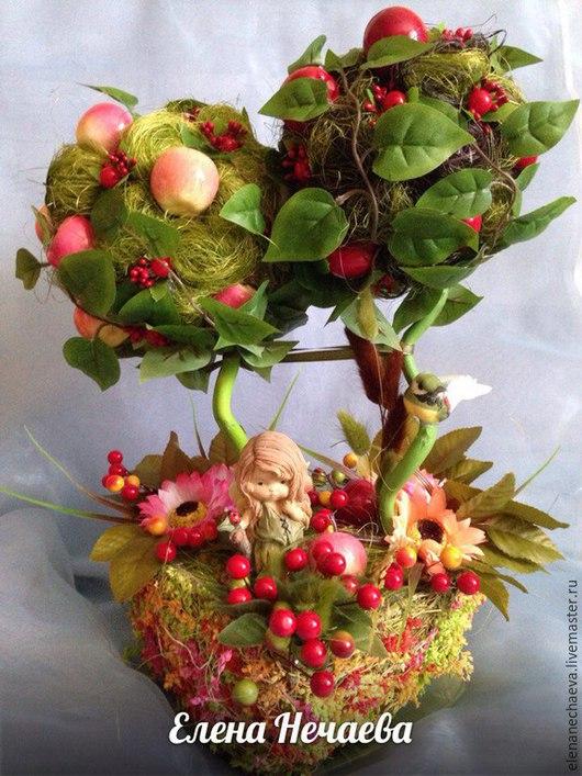 """Топиарии ручной работы. Ярмарка Мастеров - ручная работа. Купить Топиарий """"Яблочный Спас"""", дерево счастья. Handmade. Разноцветный, топиарий"""