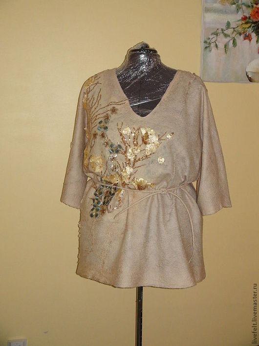 """Большие размеры ручной работы. Ярмарка Мастеров - ручная работа. Купить Блуза  """" ЗОЛОТО"""" свободная с поясом,3D валяная. Handmade."""