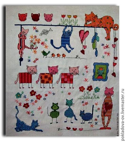 Животные ручной работы. Ярмарка Мастеров - ручная работа. Купить вышитая картина Коты, коты, везде коты. Handmade. Белый