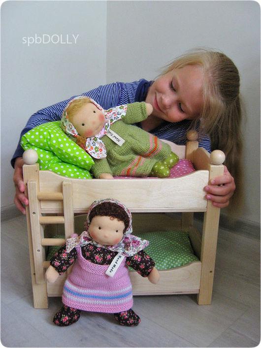 Кукольный дом ручной работы. Ярмарка Мастеров - ручная работа. Купить Двухъярусная кровать для кукол. Handmade. Бежевый, мебель для кукол