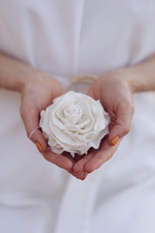 White rose. Felt brooch, Brooches, Lugansk,  Фото №1