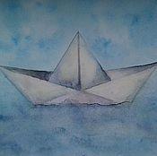 Картины и панно ручной работы. Ярмарка Мастеров - ручная работа Бумажный кораблик. Handmade.