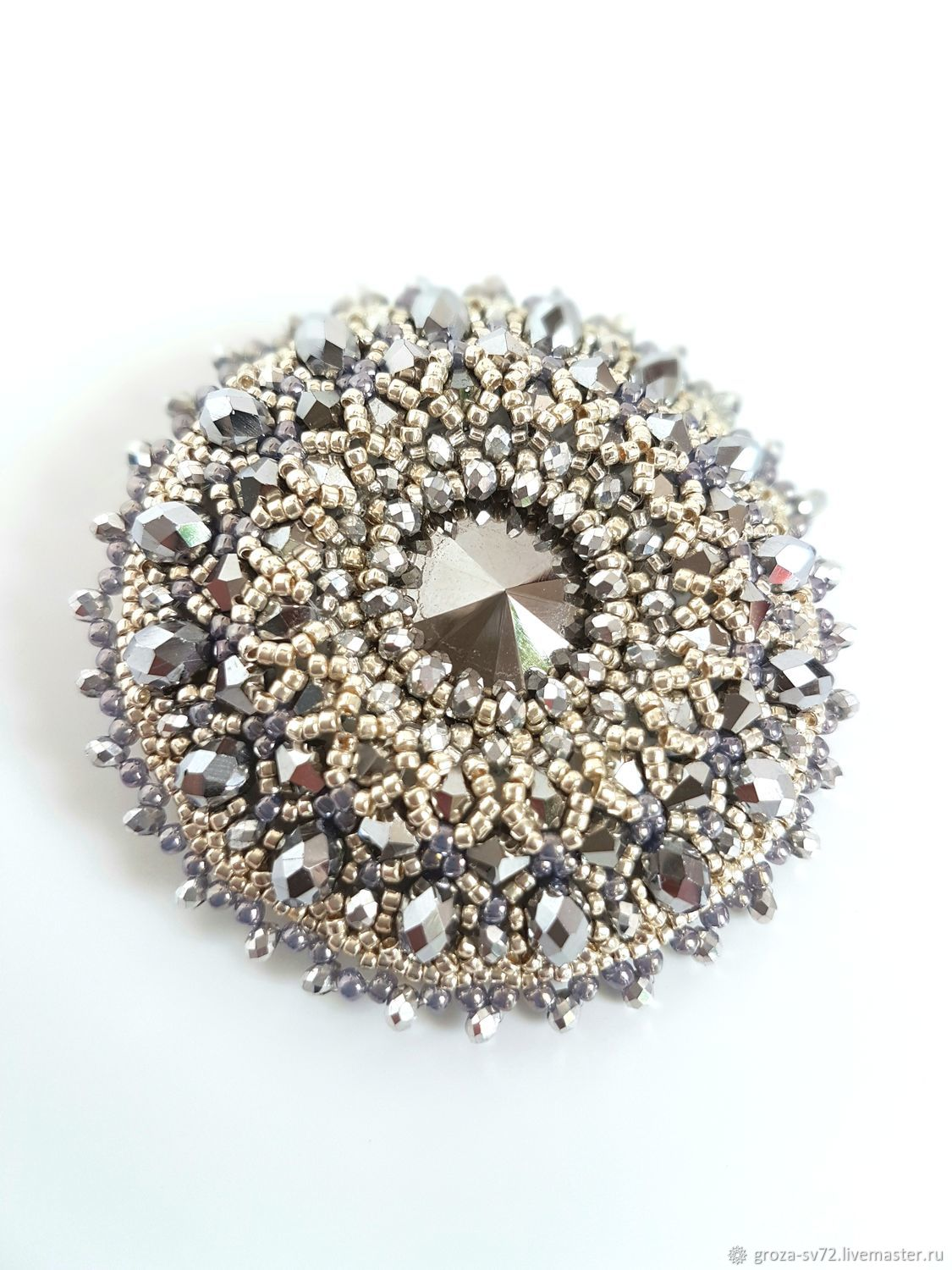 The oversized beaded brooch ' Frosty patterns ', Brooches, Moscow,  Фото №1