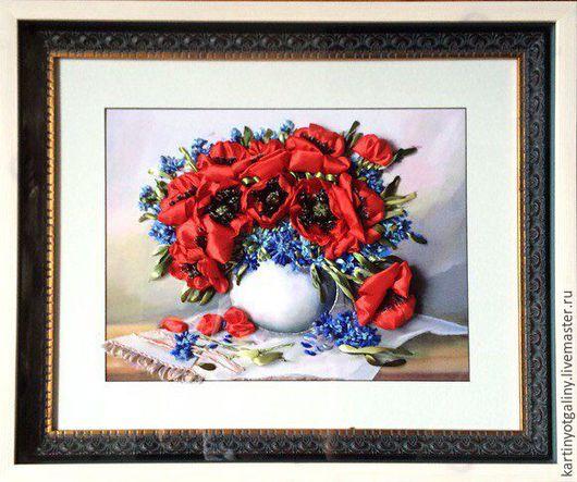 """Картины цветов ручной работы. Ярмарка Мастеров - ручная работа. Купить Картина лентами """"Маки"""". Handmade. Ленты, маки"""