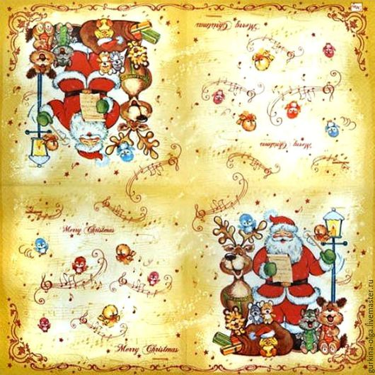 Декупаж и роспись ручной работы. Ярмарка Мастеров - ручная работа. Купить Салфетка Дед мороз с птичками поет. Handmade. Комбинированный