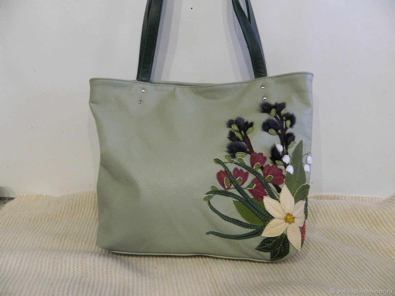 Leather bag shopper bag with applique primroses u2013 shop online on