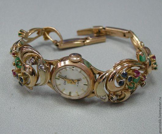 Часы ручной работы. Ярмарка Мастеров - ручная работа. Купить Браслет для часов. Handmade. Золотой, драгоценные камни, сапфиры