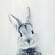 Картины и панно ручной работы. Ярмарка Мастеров - ручная работа НОВИНКА! Крошка-крол, акварель и акрил. Handmade.