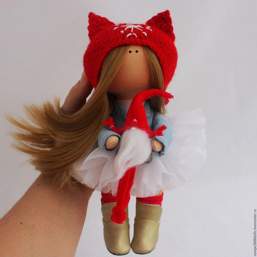 Куклы тыквоголовки ручной работы. Ярмарка Мастеров - ручная работа. Купить Кукла. Куколка в красном с мини Сантой. Handmade.