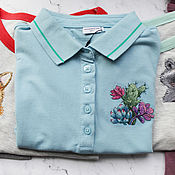 Одежда handmade. Livemaster - original item T-shirt with hand embroidery Cacti Succulents. Handmade.