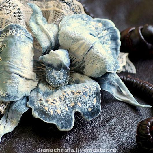 """Броши ручной работы. Ярмарка Мастеров - ручная работа. Купить Брошь из натуральной кожи """" Орхидея- 2. """". Handmade."""