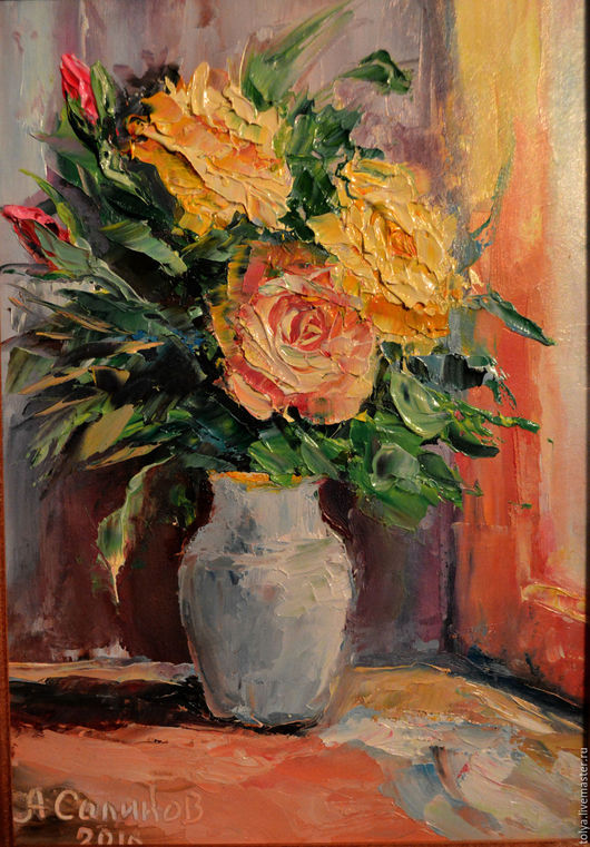 """Картины цветов ручной работы. Ярмарка Мастеров - ручная работа. Купить """"Утренние розы"""". Handmade. Картина, картина для интерьера, Живопись"""