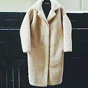 Одежда ручной работы. Ярмарка Мастеров - ручная работа Шуба из бежевой овчины на заказ модель кокон. Handmade.