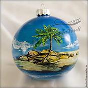 """Подарки к праздникам ручной работы. Ярмарка Мастеров - ручная работа Елочный шар """" Сейшельские острова"""". Handmade."""