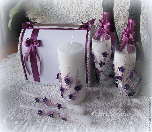 Свадебные аксессуары ручной работы. Ярмарка Мастеров - ручная работа. Купить Свадебный комплект Фиолетовый-2. Handmade. Фиолетовый, казна