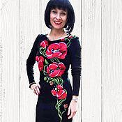 """Одежда ручной работы. Ярмарка Мастеров - ручная работа """" Маки на черном """" трикотажное платье. Handmade."""