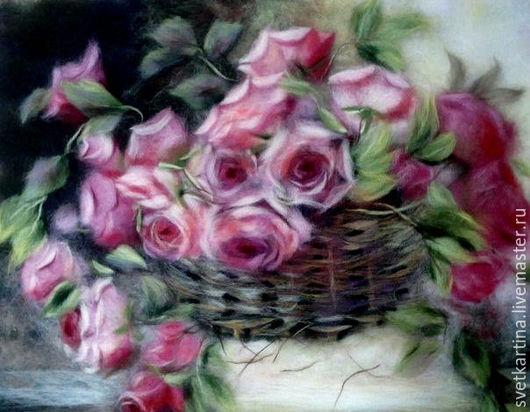 """Картины цветов ручной работы. Ярмарка Мастеров - ручная работа. Купить Картина шерстью """"Розы в корзине"""". Handmade. Комбинированный"""