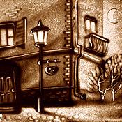 """Картины и панно ручной работы. Ярмарка Мастеров - ручная работа Песочная картина """"Улочка"""". Handmade."""