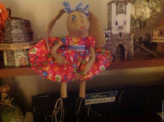 Коллекционные куклы ручной работы. Ярмарка Мастеров - ручная работа. Купить Зайка. Handmade. Ярко-красный, лента декоративная, ленточка