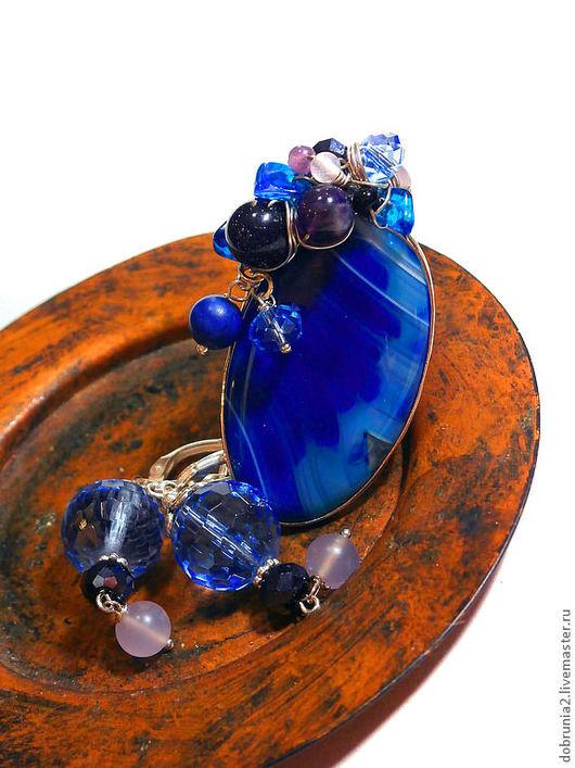 """Кольца ручной работы. Ярмарка Мастеров - ручная работа. Купить Кольцо """"Стрекоза Ультрамарин"""". Handmade. Тёмно-синий, авантюрин"""
