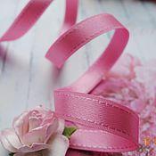 Ленты ручной работы. Ярмарка Мастеров - ручная работа Розовая атласная лента с отстрочкой по краям, 9 мм. Handmade.