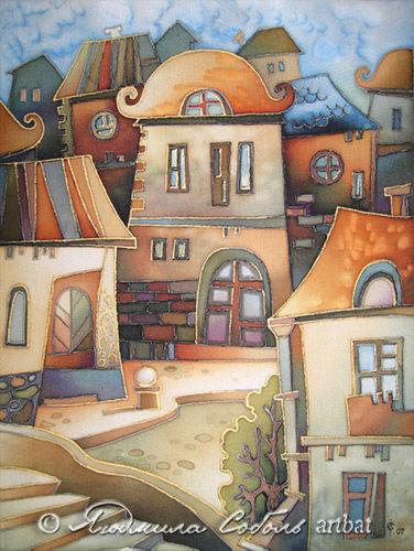 """Город ручной работы. Ярмарка Мастеров - ручная работа. Купить Батик """"Старый город"""". Handmade. Батик, авторская работа, handmade"""