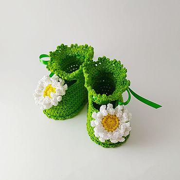 Работы для детей, ручной работы. Ярмарка Мастеров - ручная работа Пинетки зеленые из хлопка летние Ромашки. Handmade.