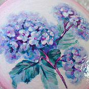 handmade. Livemaster - original item Brooch Hydrangea. Wooden brooch handmade. Painting.. Handmade.
