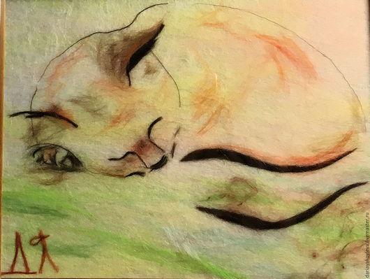 Животные ручной работы. Ярмарка Мастеров - ручная работа. Купить Картина из шерсти Сны. Handmade. Коричневый, котенок из шерсти