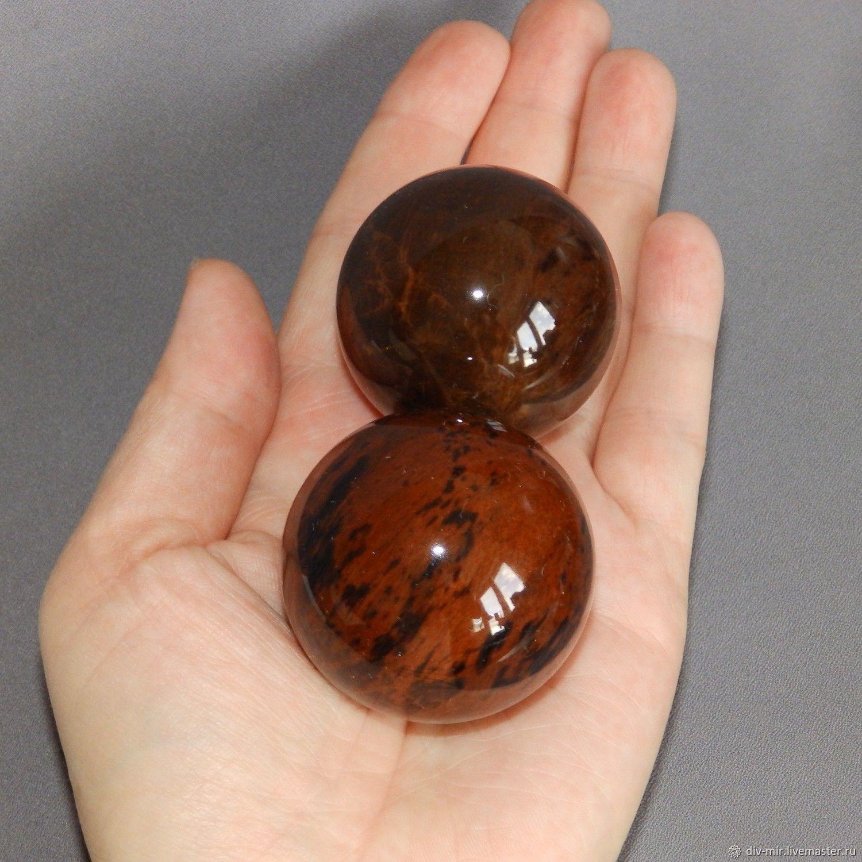Гантань - два массажных шарика из махагонового обсидиана, d42 мм, Елочные игрушки, Рыбинск,  Фото №1