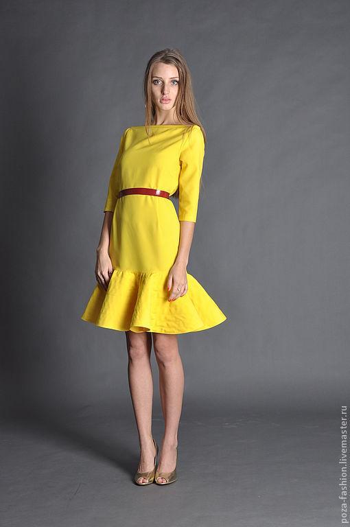 """Платья ручной работы. Ярмарка Мастеров - ручная работа. Купить Платье """"Весеннее солнце"""". Handmade. Желтый, платье по фигуре, волан"""