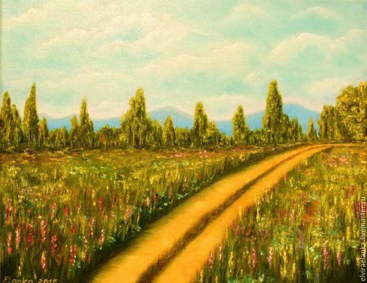 """Пейзаж ручной работы. Ярмарка Мастеров - ручная работа. Купить """"Просёлочная дорога"""". Handmade. Зеленый, картина в подарок, картина маслом"""