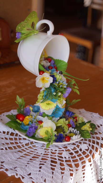 Кружки и чашки ручной работы. Ярмарка Мастеров - ручная работа. Купить цветочная чашка. Handmade. Разноцветный, Блюдце, подарок, чашка
