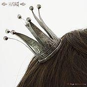 """Украшения ручной работы. Ярмарка Мастеров - ручная работа """"Корона Серебряная с Шариками"""" Заколка для волос (невидимка). Handmade."""