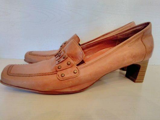 Винтажная обувь. Ярмарка Мастеров - ручная работа. Купить Удобные кожаные туфли Лоуферы на низком каблуке на 39 размер. Handmade.