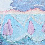 """Картины и панно ручной работы. Ярмарка Мастеров - ручная работа Картина маслом """"Вдоль реки"""". Handmade."""