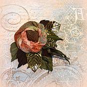 Украшения ручной работы. Ярмарка Мастеров - ручная работа Брошь кожа, янтарь, войлок Янтарная Роза. Handmade.