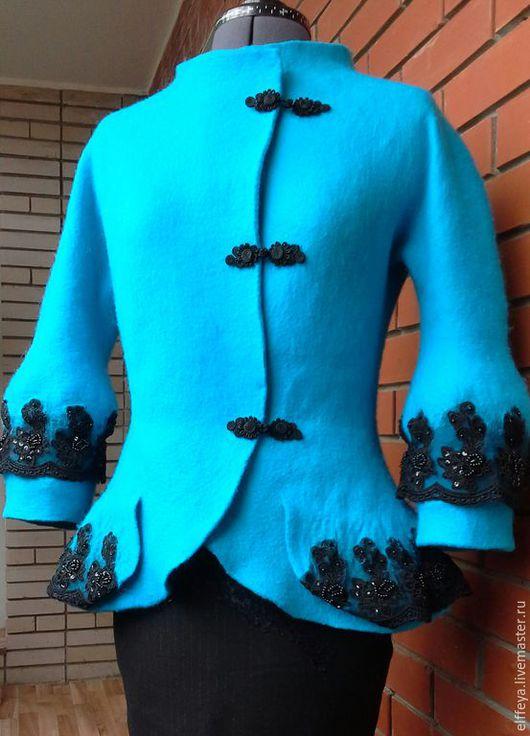 """Верхняя одежда ручной работы. Ярмарка Мастеров - ручная работа. Купить жакет """"Королевская бирюза"""". Handmade. Бирюзовый, жакет валяный"""