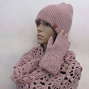 Аксессуары handmade. Livemaster - original item Set: beanie, Snood, fingerless gloves in the color of powder.. Handmade.