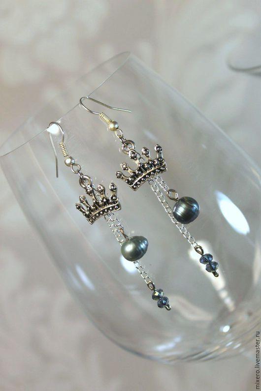 """Серьги ручной работы. Ярмарка Мастеров - ручная работа. Купить Серьги """"Короны"""". Handmade. Серебряный, подарок, серьги с кристаллами"""