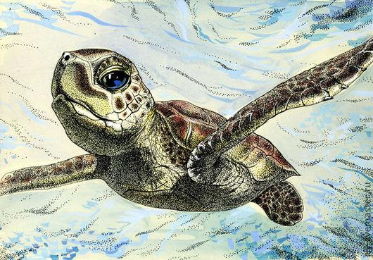 """Животные ручной работы. Ярмарка Мастеров - ручная работа. Купить Картина """"Полёт"""". Handmade. Морская черепаха, море, графика, подарок"""