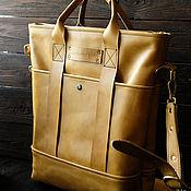 Сумки и аксессуары handmade. Livemaster - original item Shopping bag made of genuine leather with a zipper with a belt in yellow. Handmade.