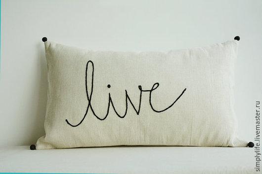 """Текстиль, ковры ручной работы. Ярмарка Мастеров - ручная работа. Купить Подушки """"Live-Love"""". Handmade. Серый, жизнь, нитки"""
