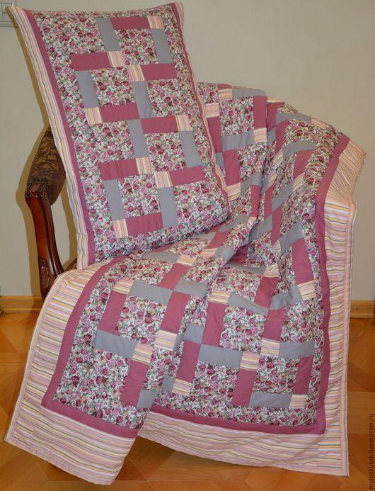 Текстиль, ковры ручной работы. Ярмарка Мастеров - ручная работа. Купить Комплект одеяло+ наволочка. Handmade. Коралловый, пэчворк