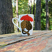 Посуда handmade. Livemaster - original item Cats in love - hand painted porcelain mug. Handmade.