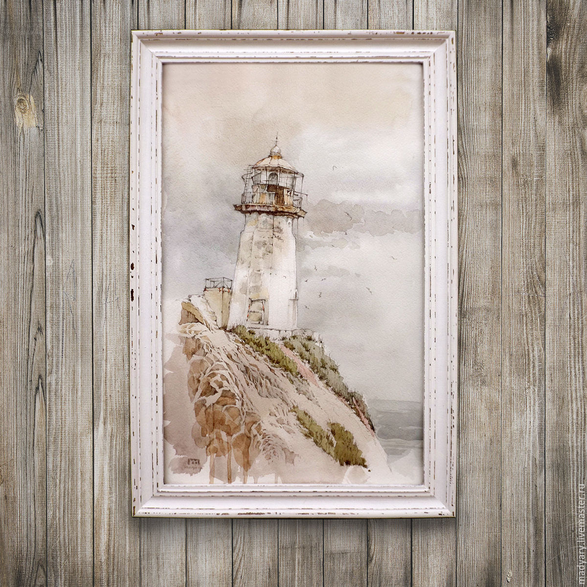 Пейзаж ручной работы. Ярмарка Мастеров - ручная работа. Купить Картина акварелью Маяк (морской пейзаж, светло-серый, бежево-серый). Handmade.