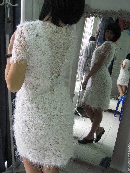 """Платья ручной работы. Ярмарка Мастеров - ручная работа. Купить Платье""""СНЕЖНЫЕ МЕЧТЫ"""". Handmade. Белый, коктельное платье, вискозный трикотаж"""